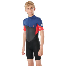 Rip Curl Omega SS Back Zip Suit Boys, negro/Multicolor